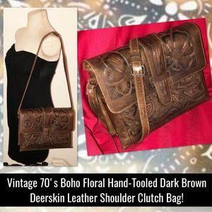 VTG 70's Boho Floral Hand-Tooled Deerskin Bag!